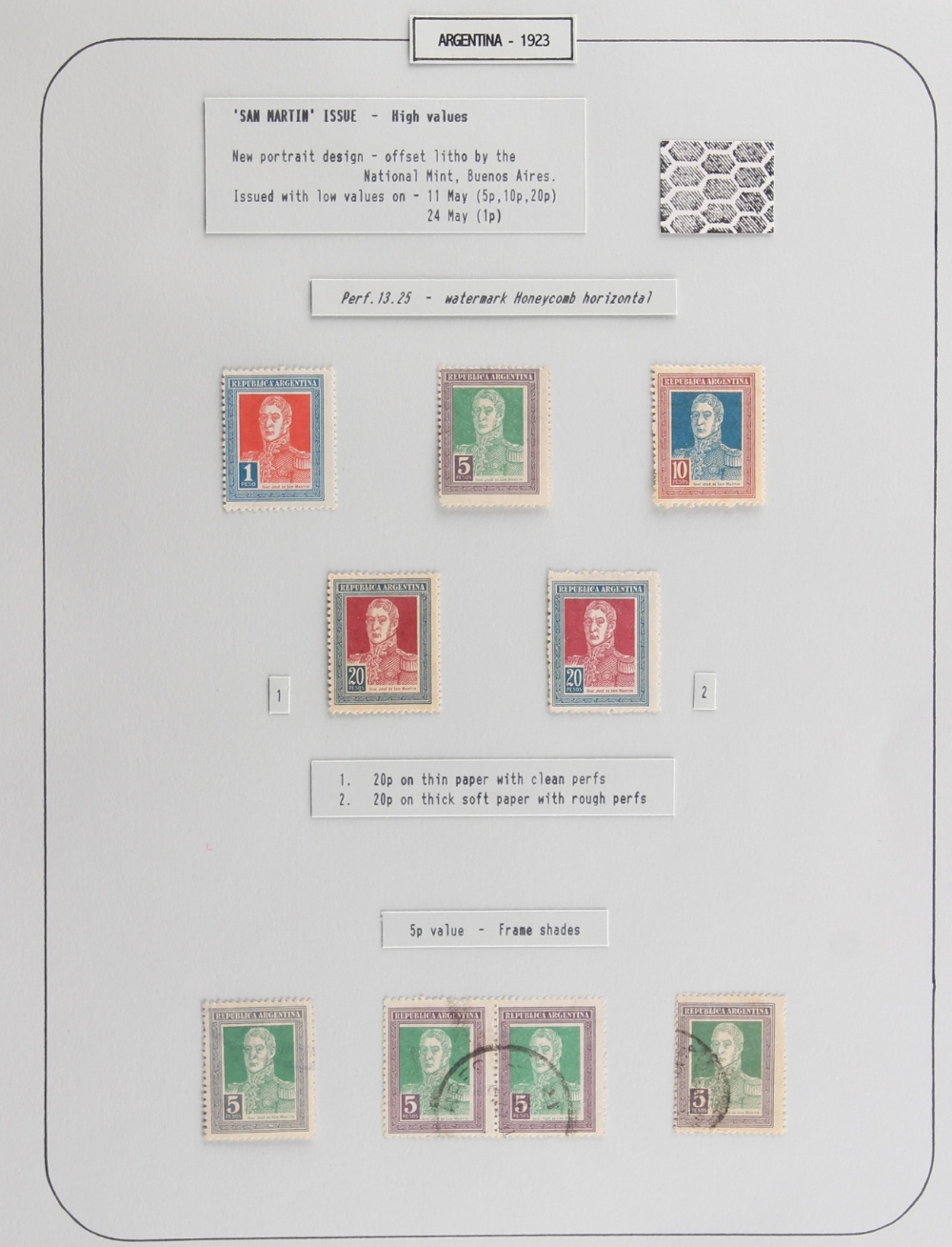 The Basil Lewis (1927-2019) collection of stamps - Argentina: 1923-35 San Martin, a specialized