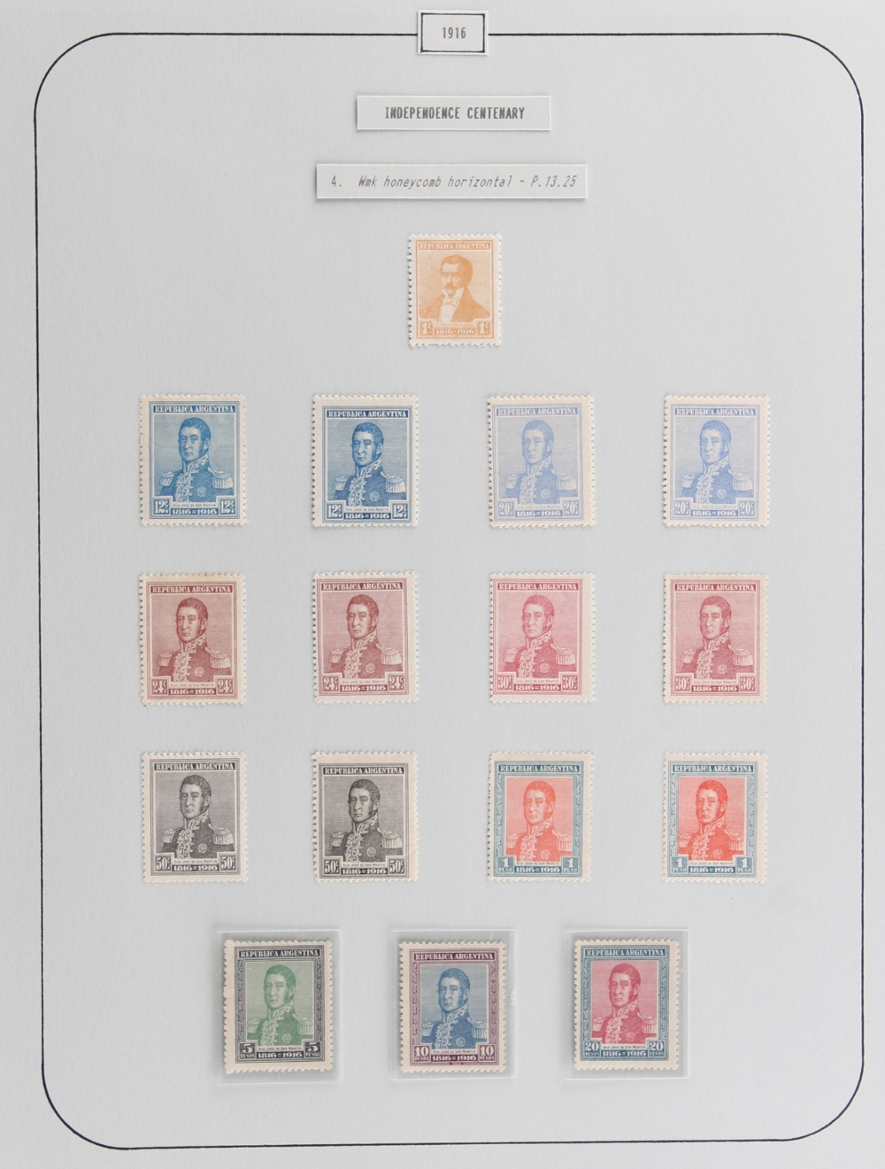 The Basil Lewis (1927-2019) collection of stamps - Argentina: 1916 Independence Centenary, a