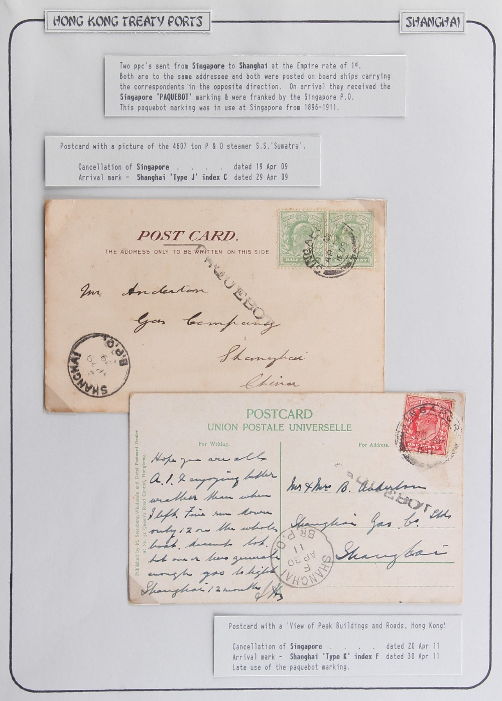 The Basil Lewis (1927-2019) collection of stamps - Hong Kong: Treaty Ports - Shanghai 1909 and