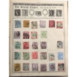 """Stamps - World: A collection in an old-time """"The Queen Postage Stamp Album"""" with GB 1887-92"""