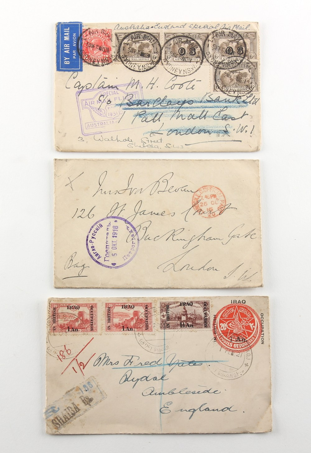 Stamps - World - Postal History: A box with many airmail and censored covers including Iraq in