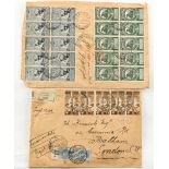 Stamps - Italy: 1913 covers (2) registered to London, with multiple frankings, including 1913 2c