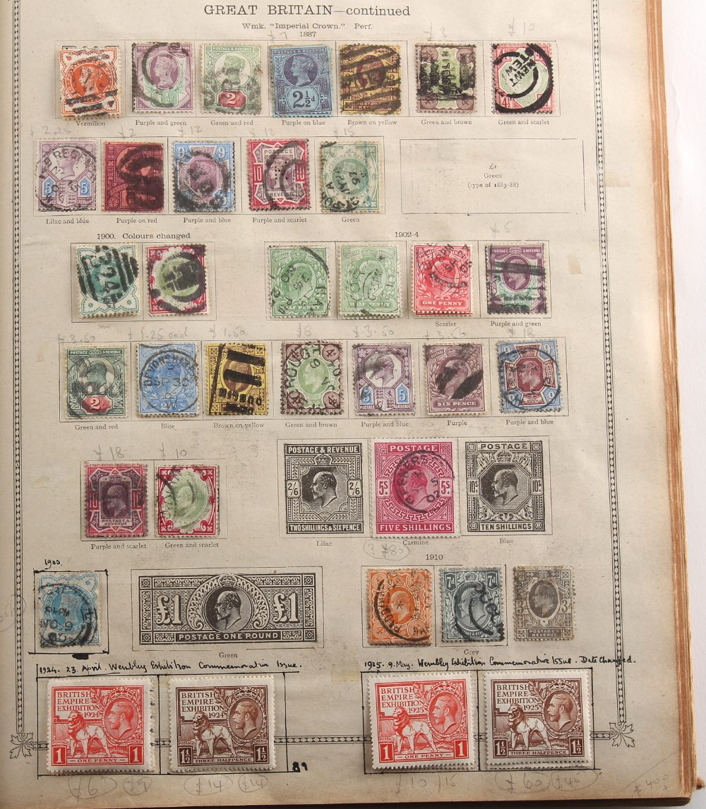 Stamps - World: A collection in an 'Ideal' album including GB 1840 1d (space filler), 1870 ½d (