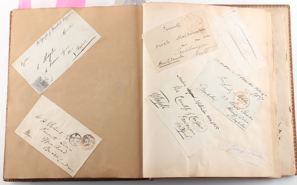 Stamps - World: the Victorian autograph and scrap album of Miss Emily Roberts, circa 1862-1897, with - Image 4 of 5