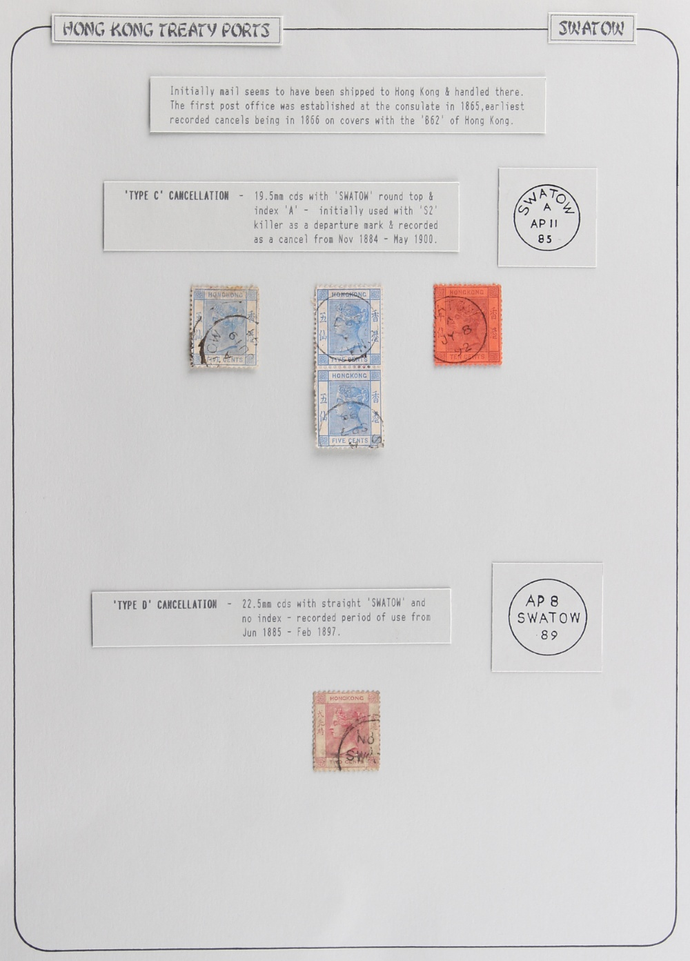 The Basil Lewis (1927-2019) collection of stamps - Hong Kong: Treaty Ports - Swatow cds types on