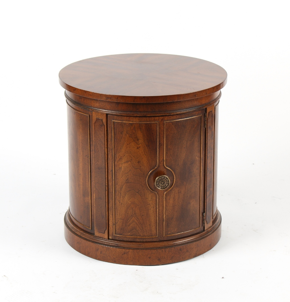 Property of a deceased estate - a Drexel reproduction mahogany cylinder cupboard, 21.25ins. (54cms.)