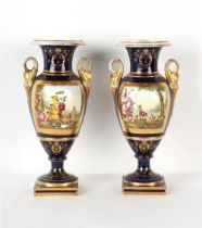 Property of a gentleman - a pair of mid 19th century English porcelain vases, possibly Ridgway, each