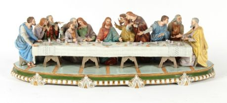 Property of a lady - a large German Sitzendorf porcelain group depicting The Last Supper, 29ins. (