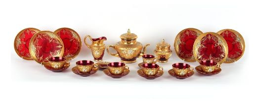 Property of a deceased estate - a Murano ruby glass 21-piece tea-set (complete for six place