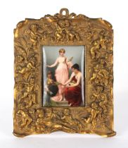 The Henry & Tricia Byrom Collection - a late 19th century German painted porcelain plaque