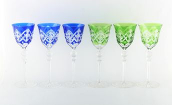 Property of a gentleman - a set of six tall Bohemian cut glass hock glasses, with blue & green