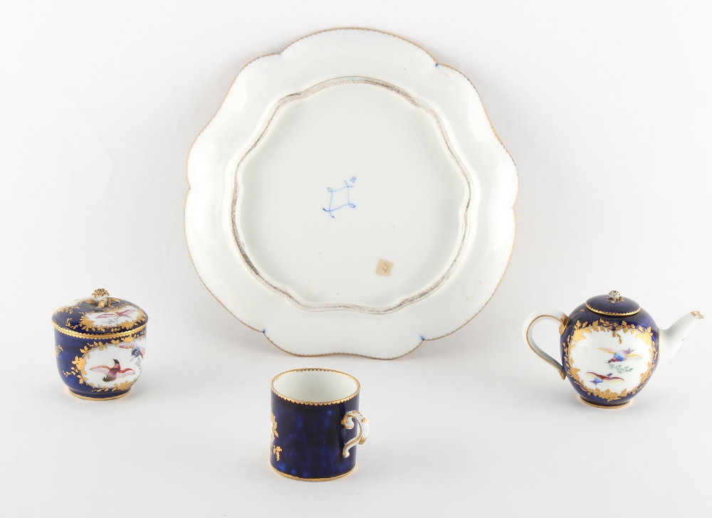 Property of a gentleman - a 19th century Sevres style cabaret set, painted with exotic birds on a - Image 2 of 2