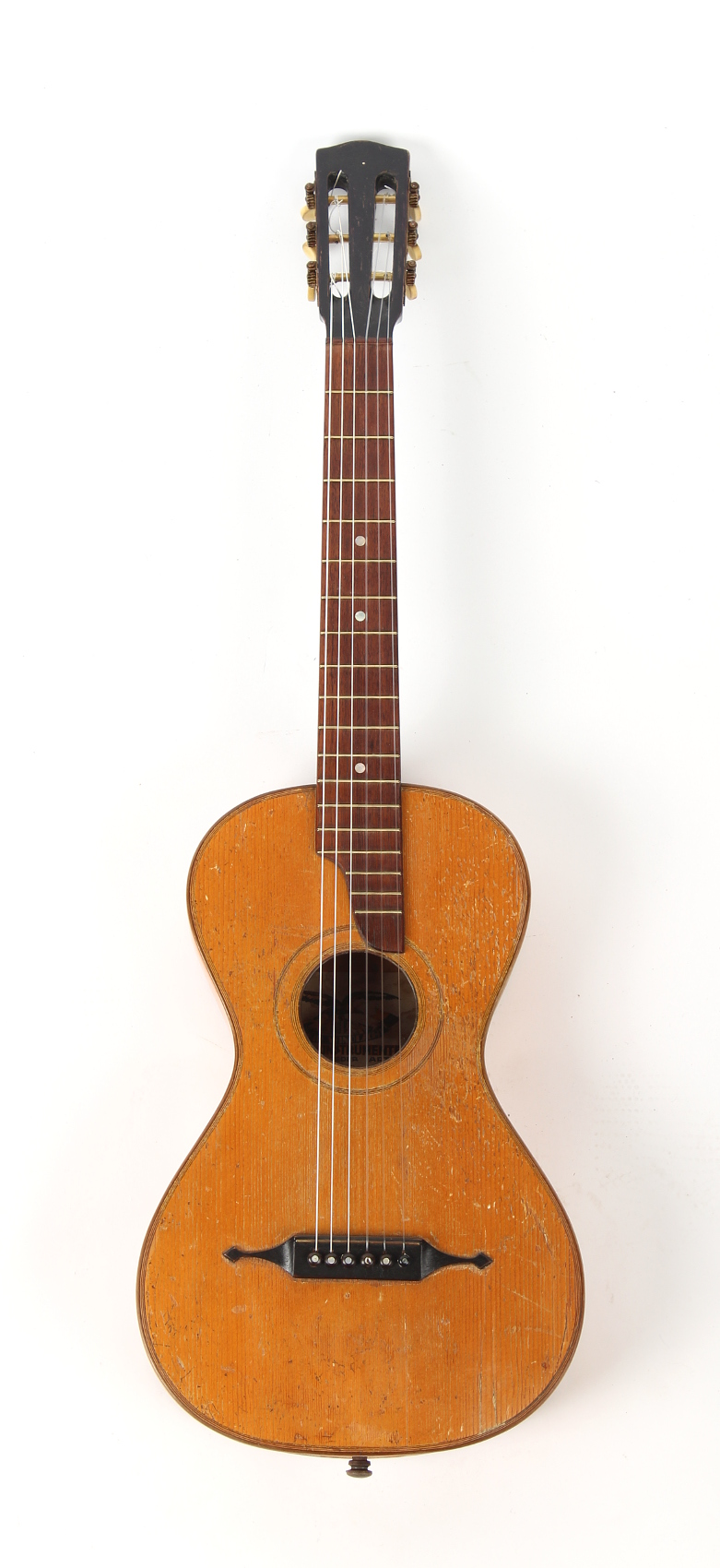 Property of a gentleman - a German parlour guitar, with label for Albin Windisch, Ludwigsburg.