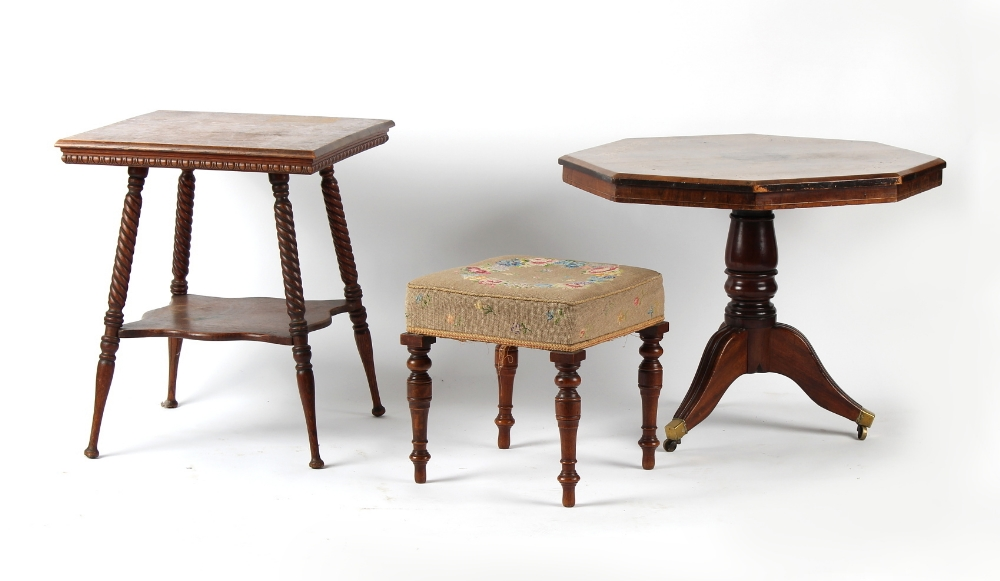 Property of a lady - an early 20th century oak two-tier occasional table with rope-twist & turned