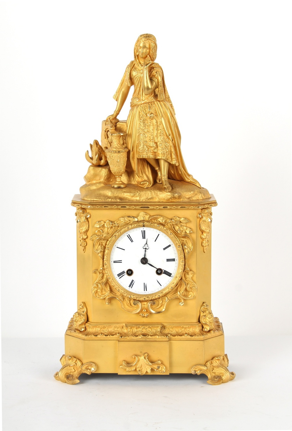 Property of a lady - a French ormolu cased mantel clock, circa 1845, surmounted by a figure of a