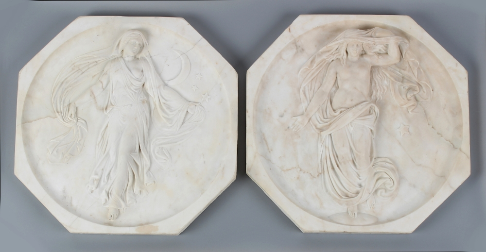 Property of a gentleman - a pair of relief carved white marble octagonal wall plaques depicting - Image 2 of 2