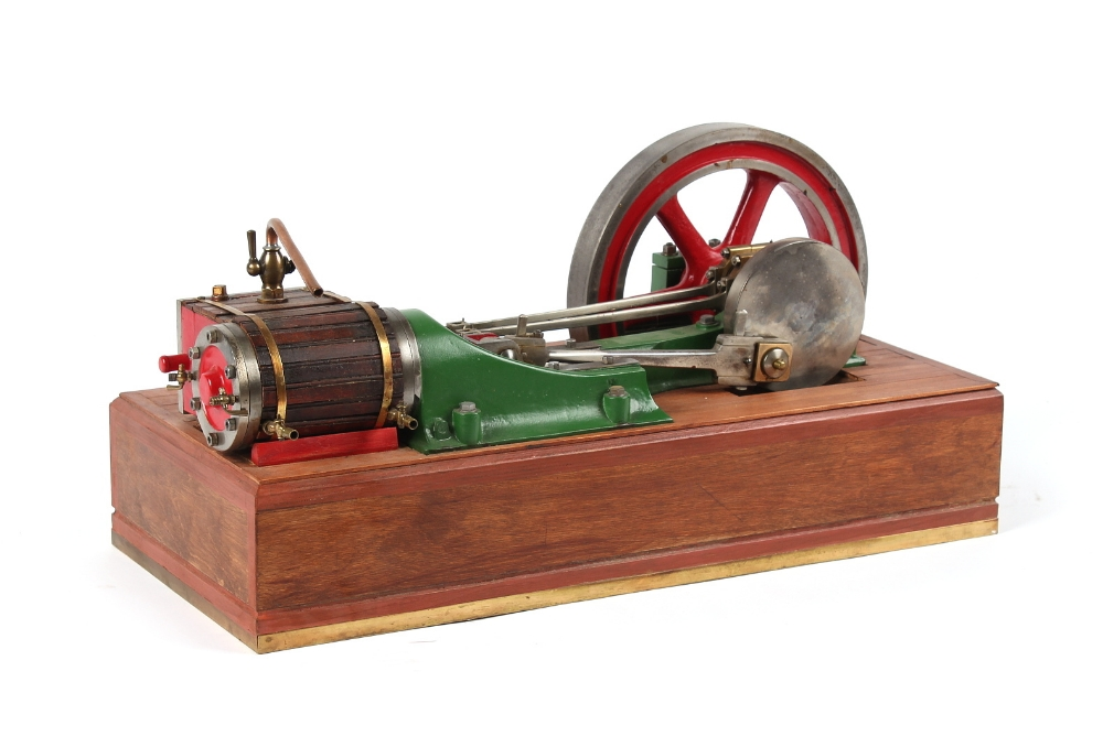 An early 20th century working steam model horizontal mill engine, double acting, with 10.25-inch (
