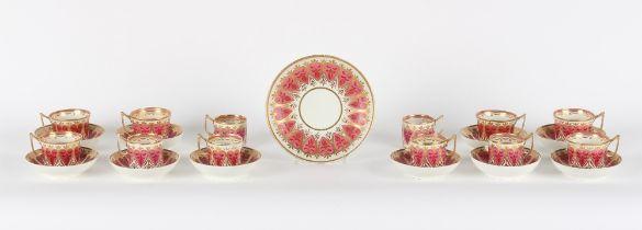 Property of a gentleman - an early 19th century Derby porcelain twenty-three piece tea set,