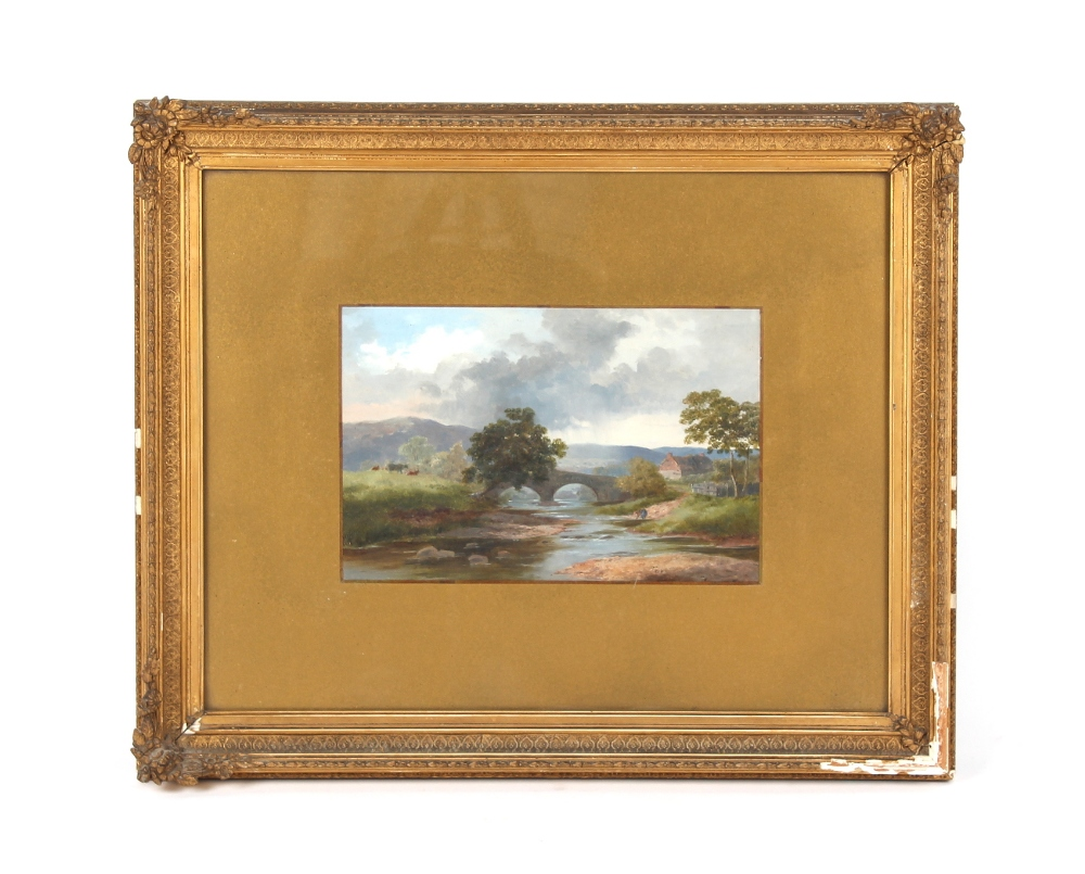 Property of a gentleman - English school, late 19th century - A FIGURE AND CATTLE BY A RIVER WITH