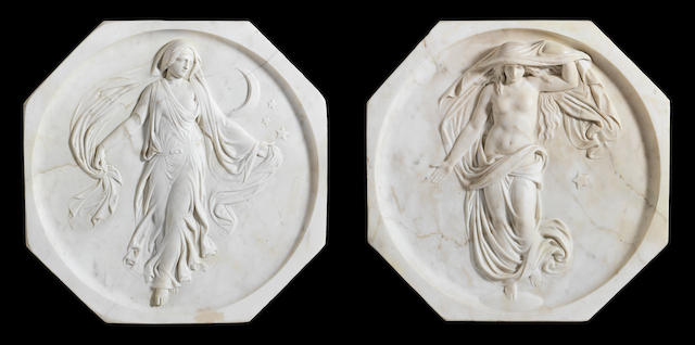 Property of a gentleman - a pair of relief carved white marble octagonal wall plaques depicting