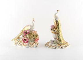 Property of a deceased estate - a pair of Royal Crown Derby porcelain models of peacocks, one signed