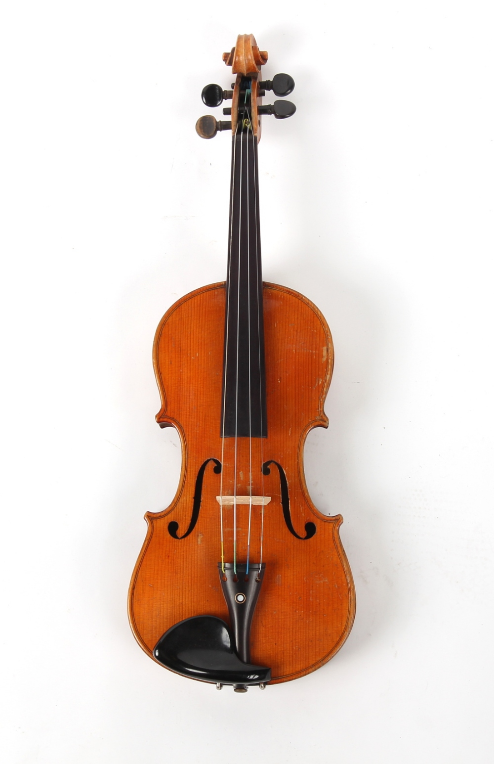 Property of a gentleman - a German violin, the back with inlaid mother-of-pearl decoration.