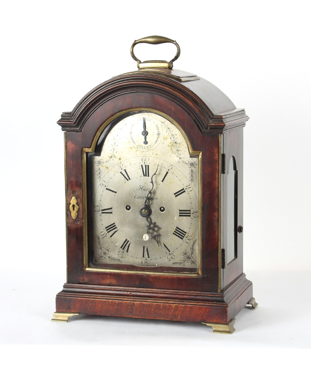 The Henry & Tricia Byrom Collection - William Harris, Chippenham, a mahogany table clock, circa - Image 2 of 3
