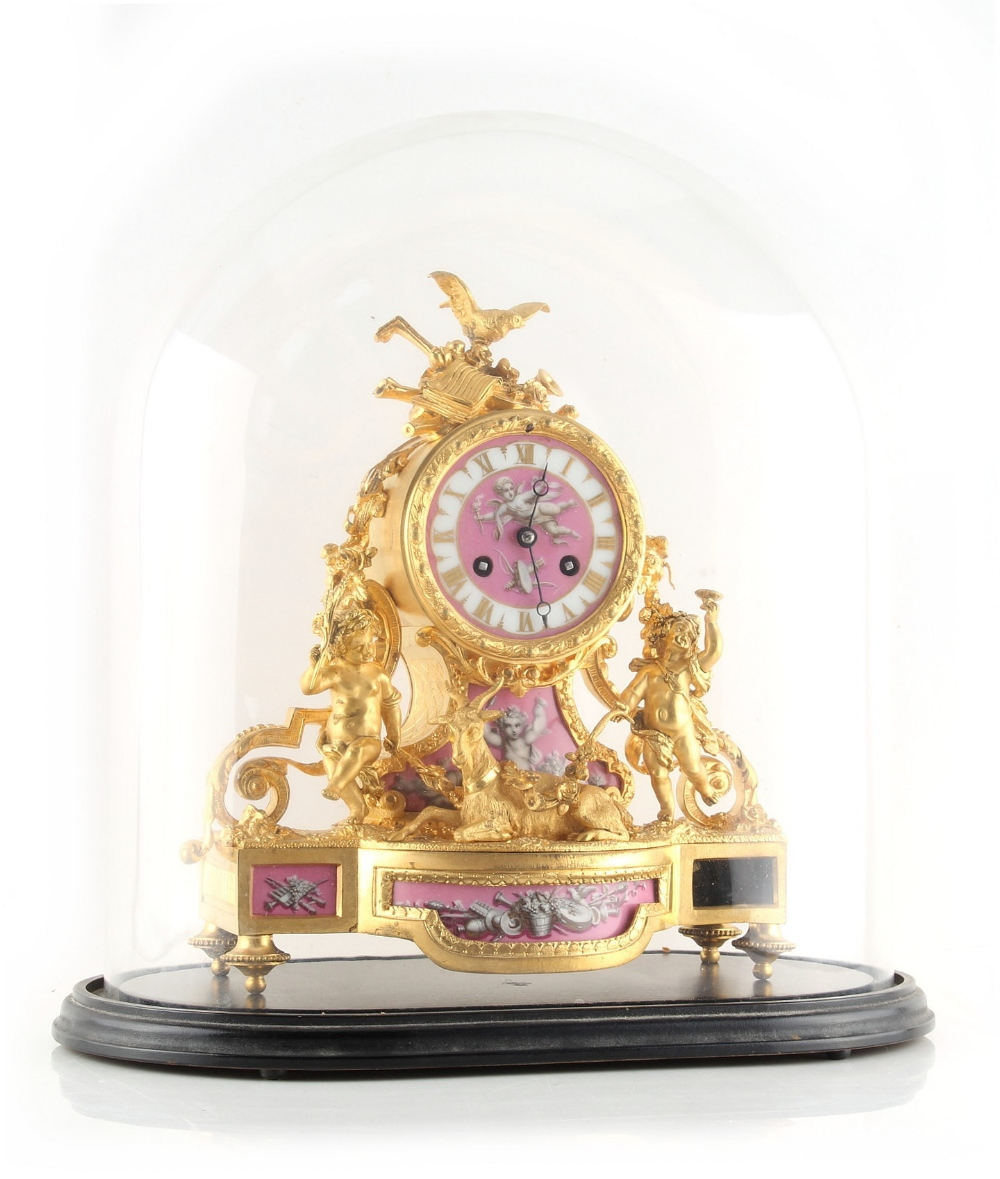Property of a deceased estate - a late 19th century French porcelain mounted ormolu mantel clock, - Image 2 of 2