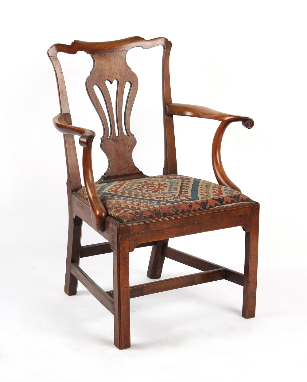 Property of a gentleman - an 18th century George III fruitwood elbow chair, with needlework drop-