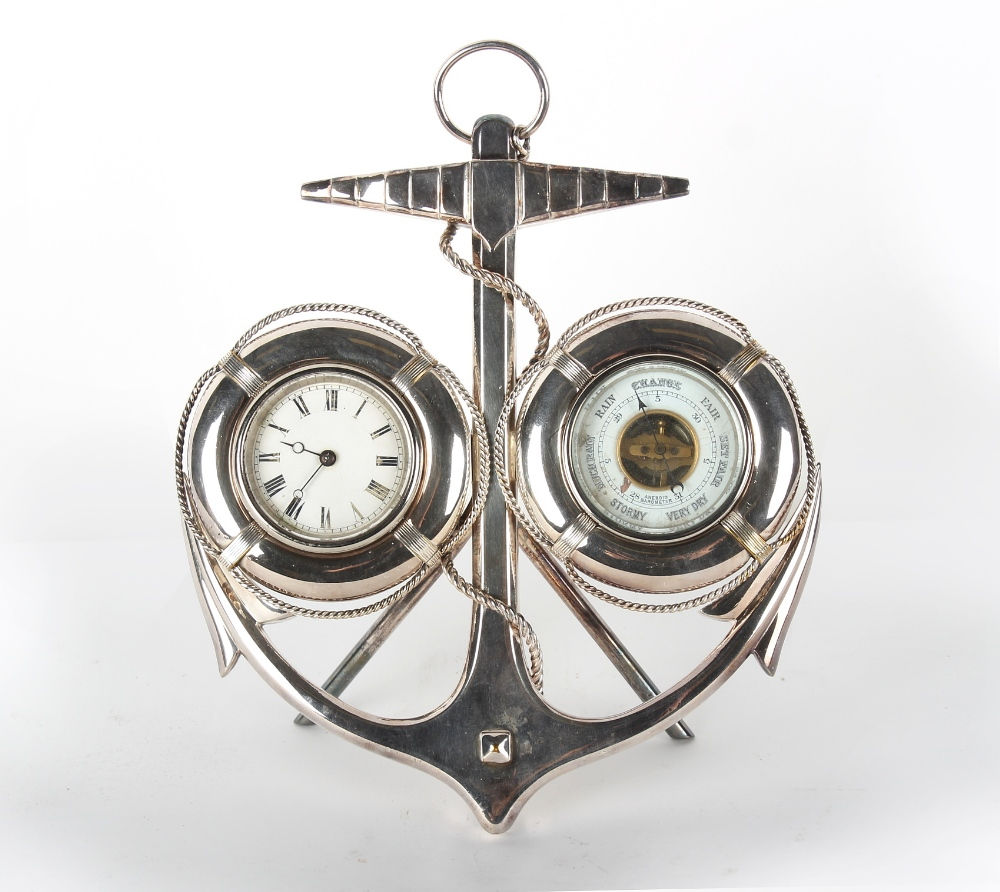 Property of a lady of title - nautical interest - an early 20th century silver plated desk clock &