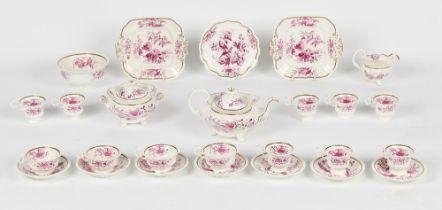 Property of a deceased estate - a mid 19th century English porcelain twenty-six piece tea set,