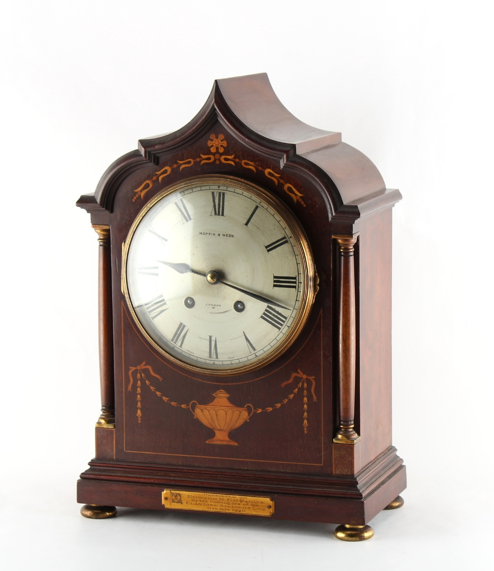 Property of a lady - an Edwardian mahogany & marquetry inlaid mantel clock, the 8-day two-train