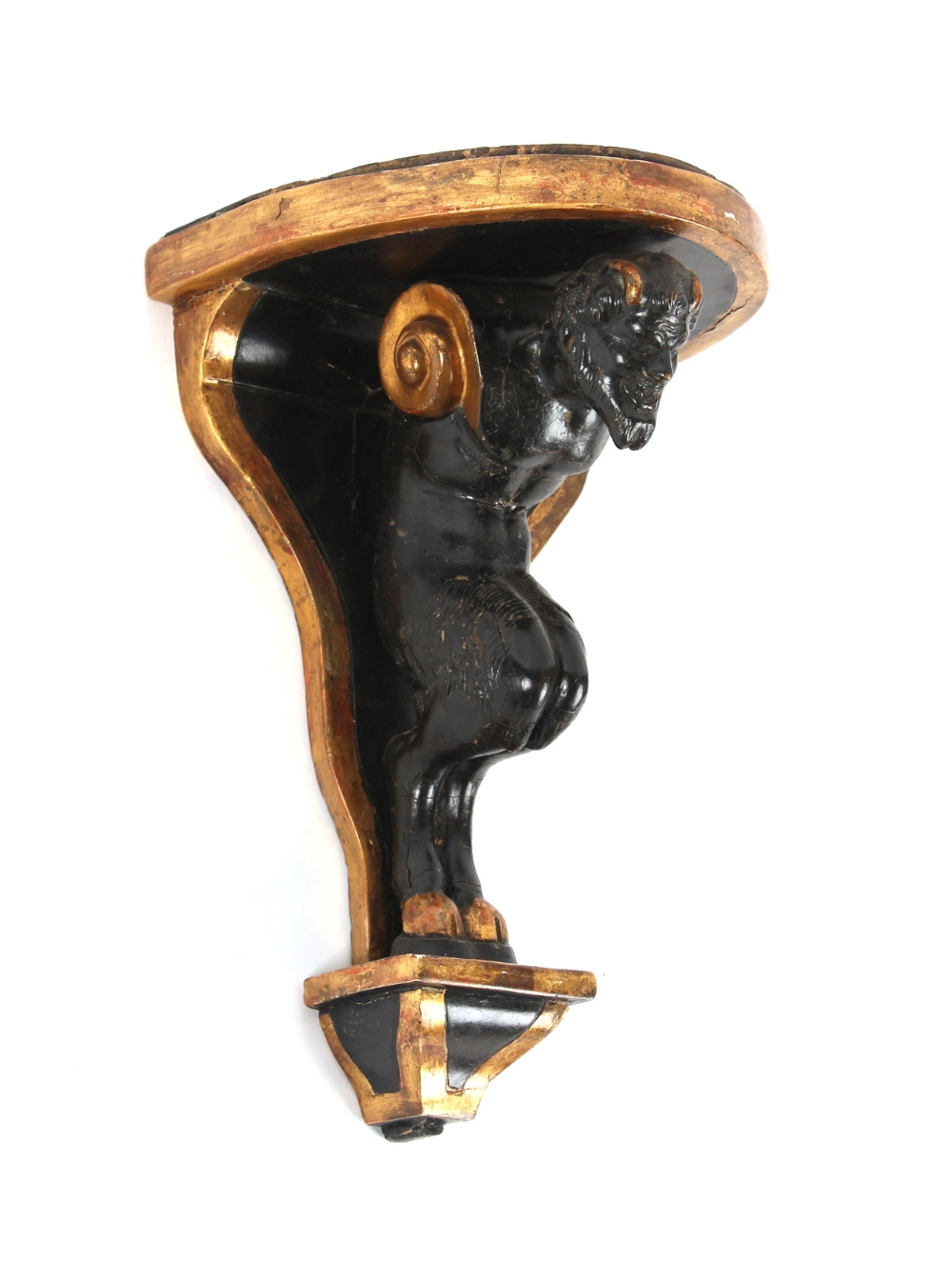 Property of a gentleman - a late 19th / early 20th century Italian parcel gilt & ebonised faun