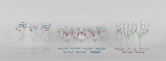 Property of a gentleman - a set of seven wine glasses, the hexagonal bowls with enamel painted