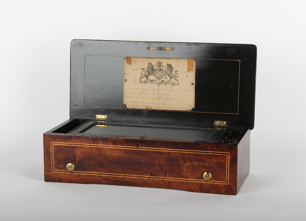 Property of a lady of title - a 19th century rosewood & inlaid cylinder musical box playing 8 airs - Image 3 of 3