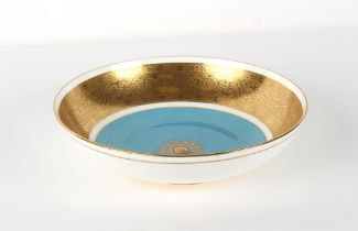 Property of a gentleman - a Minton bone china bowl with richly gilt border, 11.45ins. (29cms.)