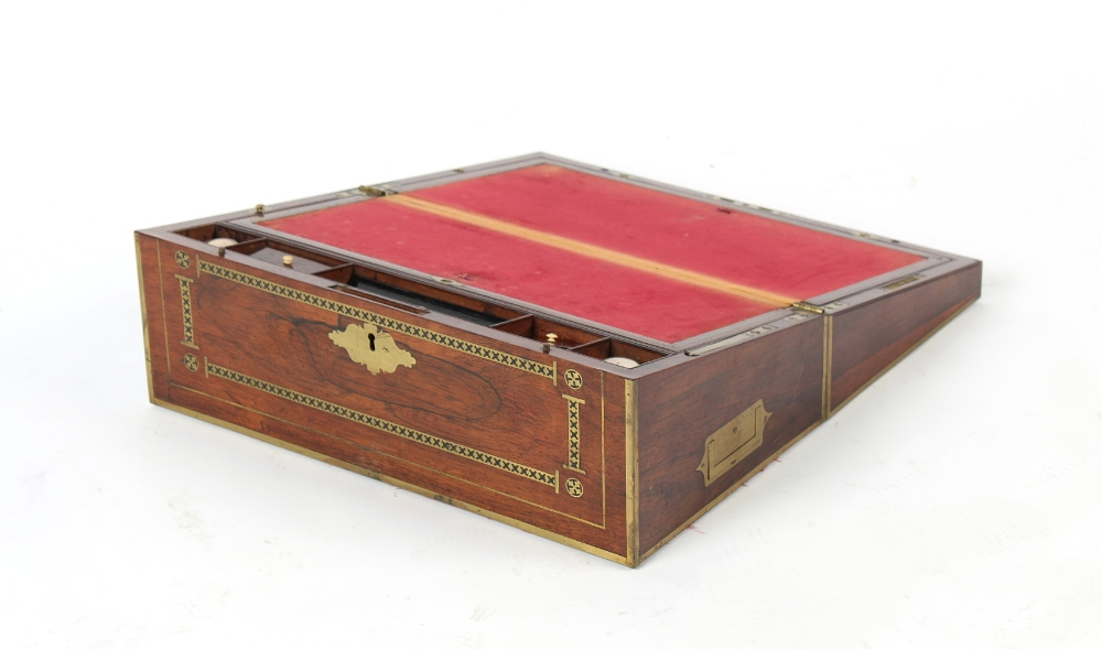 Property of a deceased estate - a Victorian rosewood & brass inlaid writing box, 18ins. (45.5cms.) - Image 3 of 3
