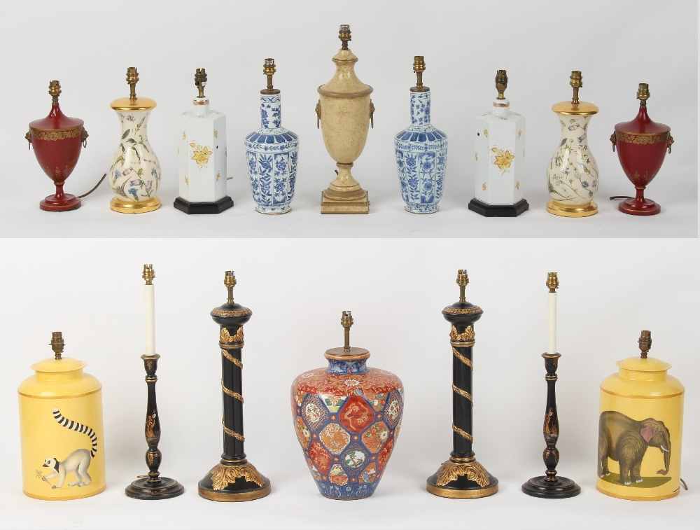 Property of a gentleman - sixteen assorted table lamps including seven pairs (16).
