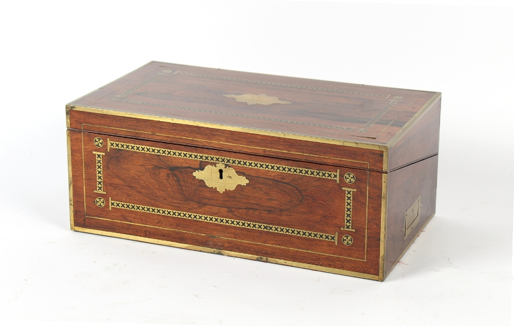 Property of a deceased estate - a Victorian rosewood & brass inlaid writing box, 18ins. (45.5cms.)