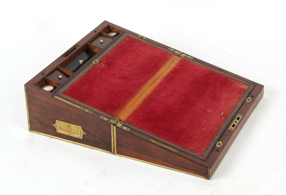 Property of a deceased estate - a Victorian rosewood & brass inlaid writing box, 18ins. (45.5cms.) - Image 2 of 3