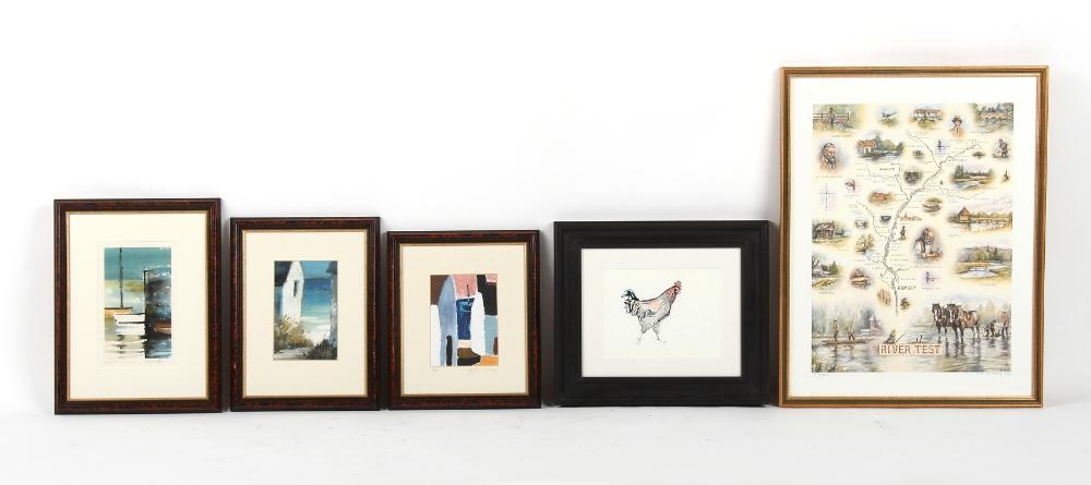 Property of a gentleman - five assorted framed prints (5).