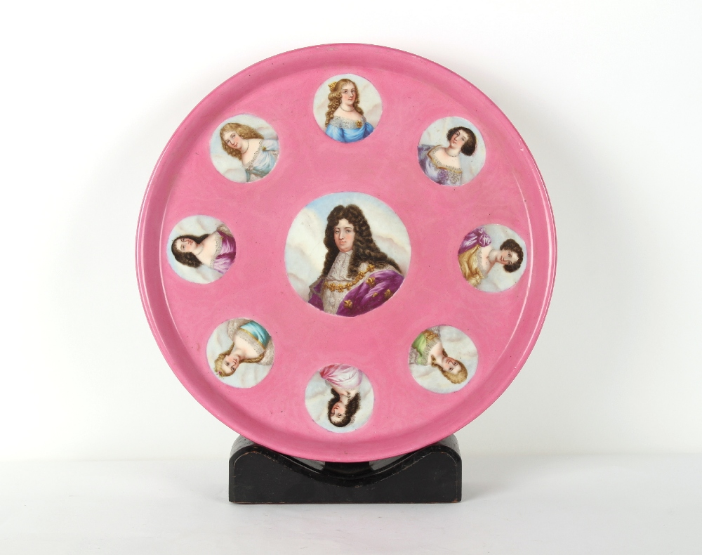 Property of a gentleman - a large 19th century Sevres style circular tray, painted with portraits of