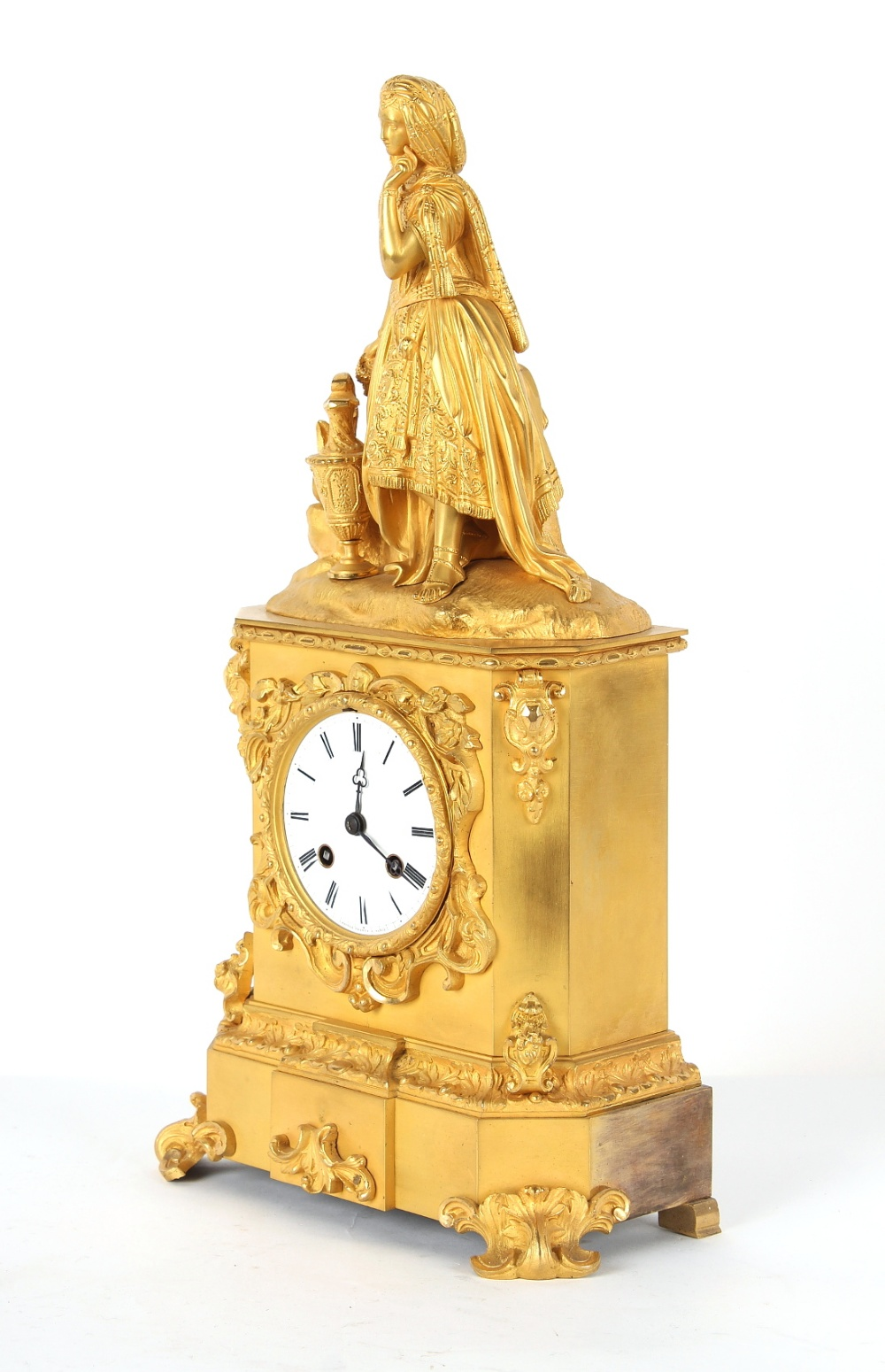 Property of a lady - a French ormolu cased mantel clock, circa 1845, surmounted by a figure of a - Image 2 of 3