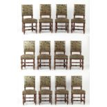 Property of a lady - a set of twelve Victorian oak barleytwist side chairs with embossed & painted