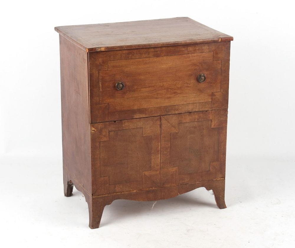 Property of a lady - an early 19th century George IV mahogany commode, on swept bracket feet, 24.