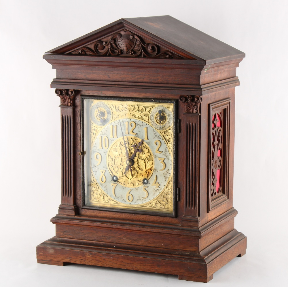 Property of a lady - a late 19th / early 20th century oak cased mantel clock with Winterhalder &