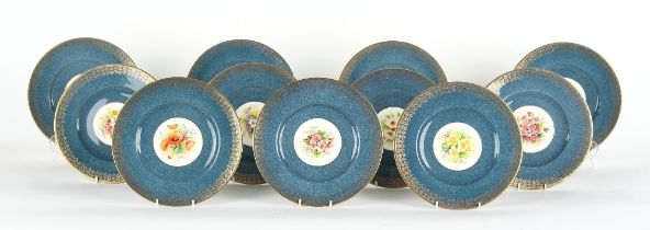Property of a gentleman - a set of eleven Royal Worcester plates, variously painted with flowers