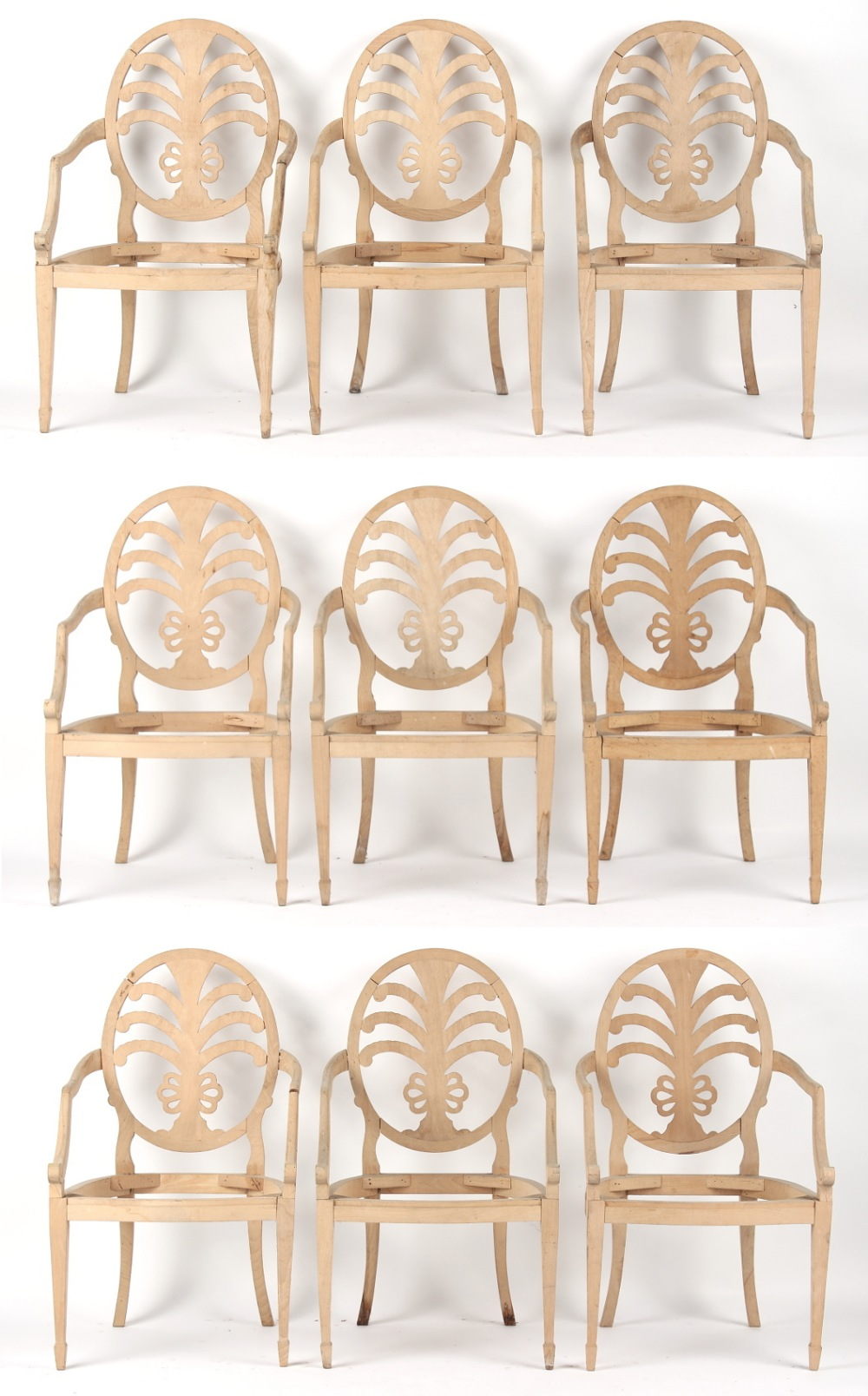 Property of a gentleman - a set of nine Hepplewhite style open armchair or carver chair frames (9).