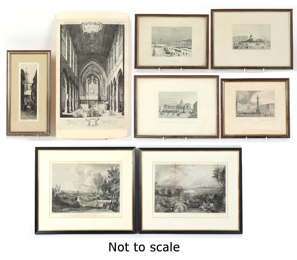 Property of a gentleman - eight assorted prints, 18th century & later, including two monochrome