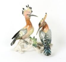 Property of a deceased estate - a Karl Ens group model of two Hoopoe birds, 10.25ins. (26cms.) high.